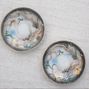 💕 Set of 2 Made in Japan Dragon Art Plates L362